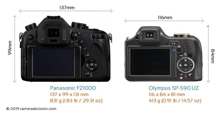 Panasonic FZ1000 vs Olympus SP-590 UZ Camera Size Comparison - Back View