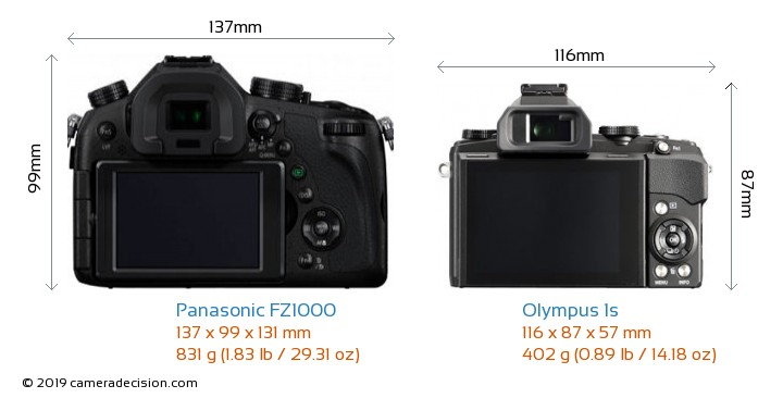 Panasonic FZ1000 vs Olympus 1s Camera Size Comparison - Back View