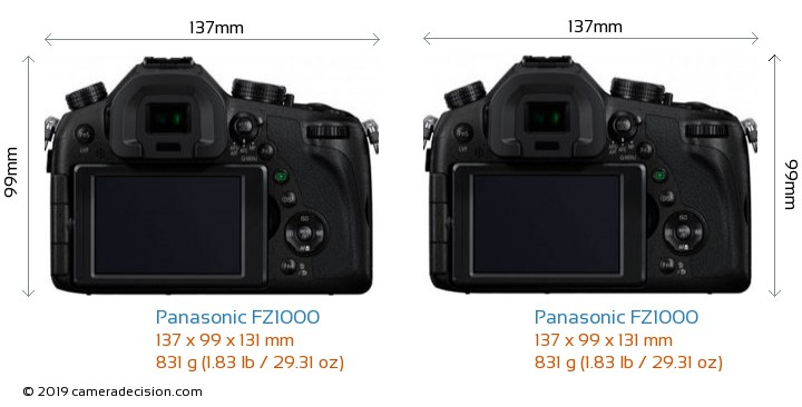 Panasonic FZ1000 vs Panasonic FZ1000 Camera Size Comparison - Back View