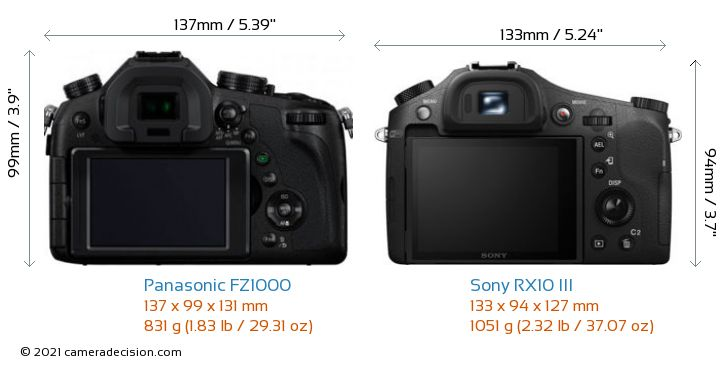 Panasonic FZ1000 vs Sony RX10 III Camera Size Comparison - Back View