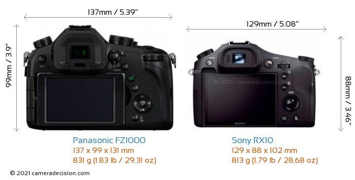 Panasonic FZ1000 vs Sony RX10 Camera Size Comparison - Back View