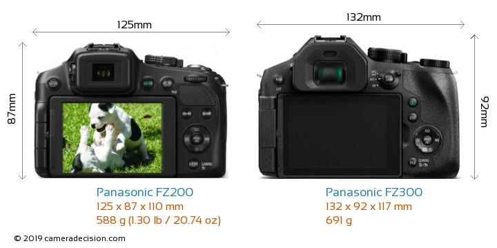 Panasonic FZ200 vs Panasonic FZ300 Camera Size Comparison - Back View