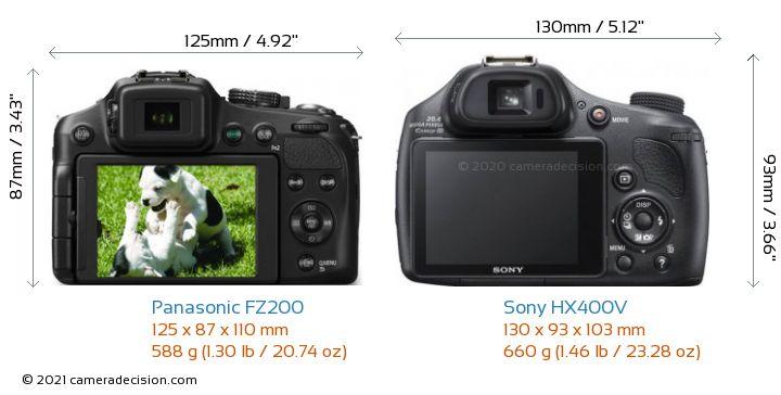 Panasonic FZ200 vs Sony HX400V Camera Size Comparison - Back View