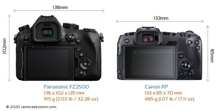 Panasonic FZ2500 vs Canon RP Camera Size Comparison - Back View