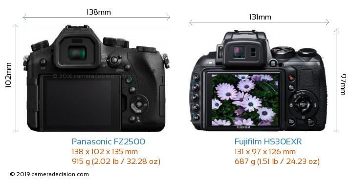 Panasonic FZ2500 vs Fujifilm HS30EXR Camera Size Comparison - Back View