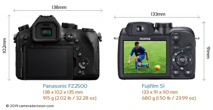 Panasonic FZ2500 vs Fujifilm S1 Camera Size Comparison - Back View