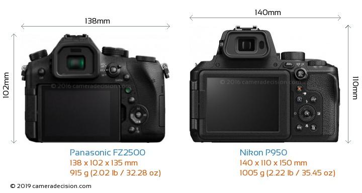 Panasonic FZ2500 vs Nikon P950 Camera Size Comparison - Back View