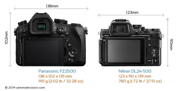 Panasonic FZ2500 vs Nikon DL24-500 Camera Size Comparison - Back View