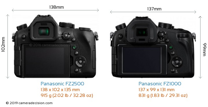 Panasonic FZ2500 vs Panasonic FZ1000 Camera Size Comparison - Back View