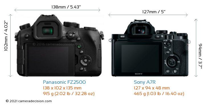 Panasonic FZ2500 vs Sony A7R Camera Size Comparison - Back View