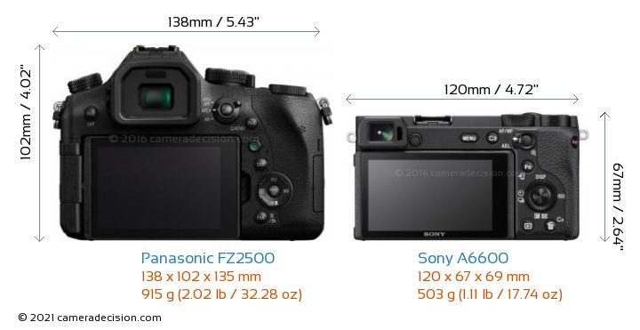 Panasonic FZ2500 vs Sony A6600 Camera Size Comparison - Back View