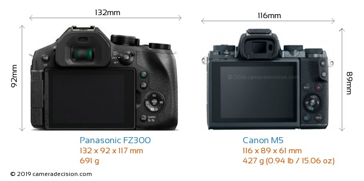 Panasonic FZ300 vs Canon M5 Camera Size Comparison - Back View