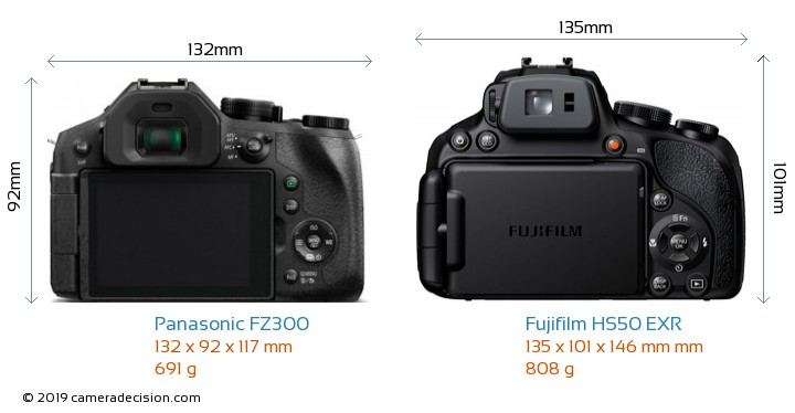 Panasonic FZ300 vs Fujifilm HS50 EXR Camera Size Comparison - Back View