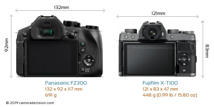 Panasonic FZ300 vs Fujifilm X-T100 Camera Size Comparison - Back View