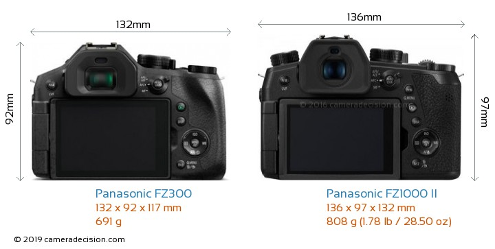 Panasonic FZ300 vs Panasonic FZ1000 II Camera Size Comparison - Back View