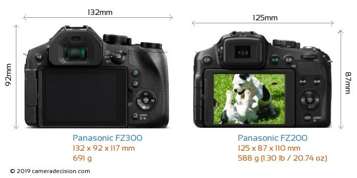 Panasonic FZ300 vs Panasonic FZ200 Camera Size Comparison - Back View