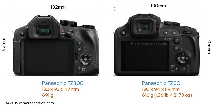 Panasonic FZ300 vs Panasonic FZ80 Camera Size Comparison - Back View