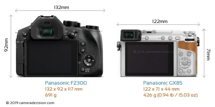 Panasonic FZ300 vs Panasonic GX85 Camera Size Comparison - Back View