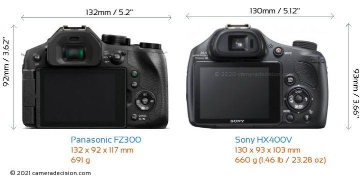 Panasonic FZ300 vs Sony HX400V Camera Size Comparison - Back View