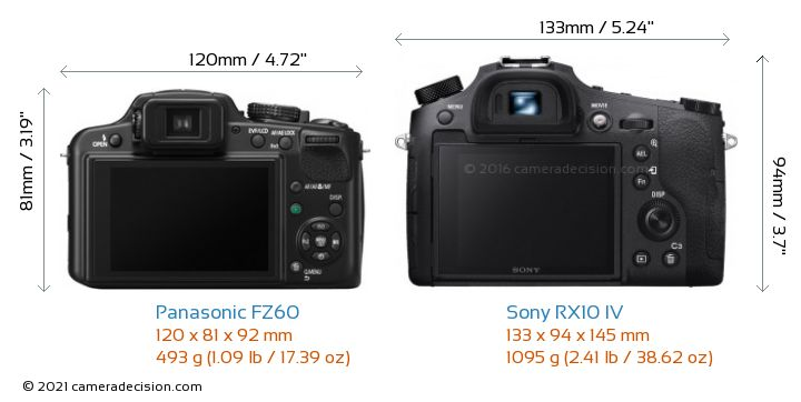 Panasonic FZ60 vs Sony RX10 IV Camera Size Comparison - Back View