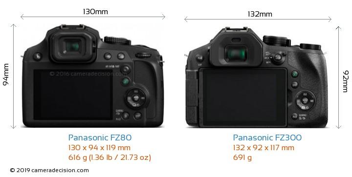 Panasonic FZ80 vs Panasonic FZ300 Camera Size Comparison - Back View