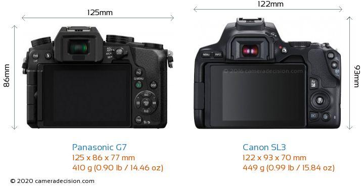 Panasonic G7 vs Canon SL3 Camera Size Comparison - Back View