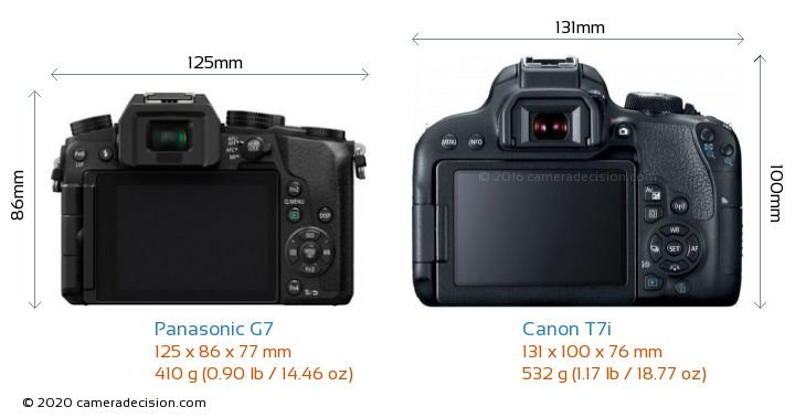Panasonic G7 vs Canon T7i Camera Size Comparison - Back View