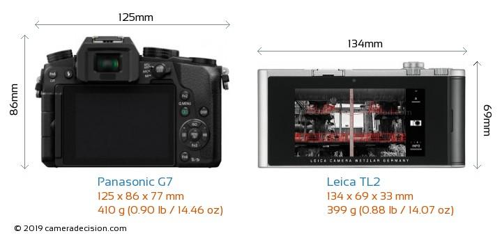 Panasonic G7 vs Leica TL2 Camera Size Comparison - Back View