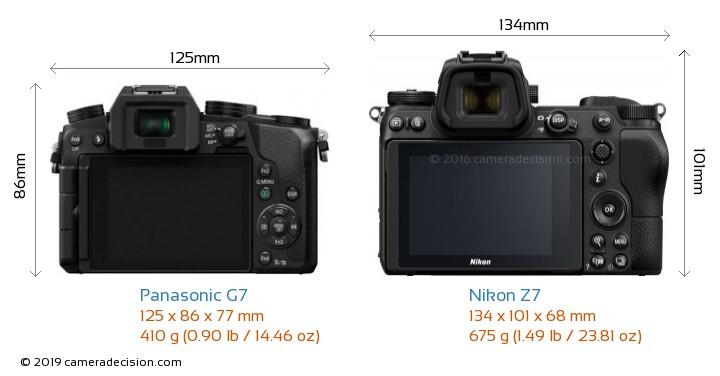 Panasonic G7 vs Nikon Z7 Camera Size Comparison - Back View