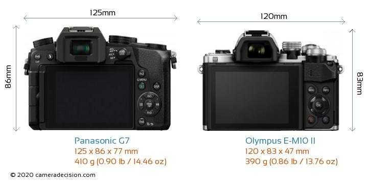 Panasonic G7 vs Olympus E-M10 II Camera Size Comparison - Back View
