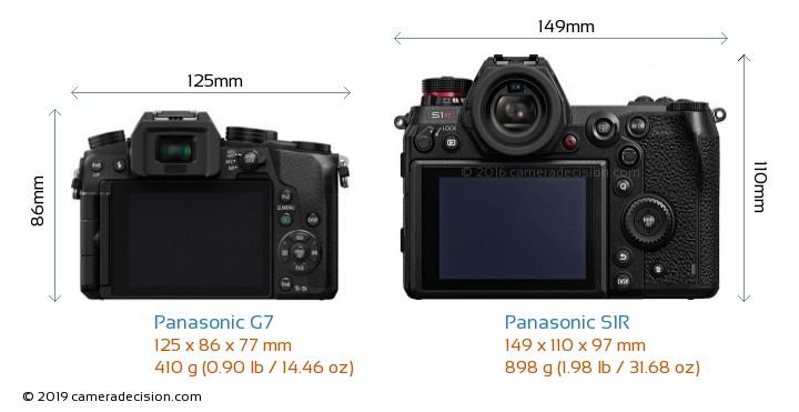 Panasonic G7 vs Panasonic S1R Camera Size Comparison - Back View