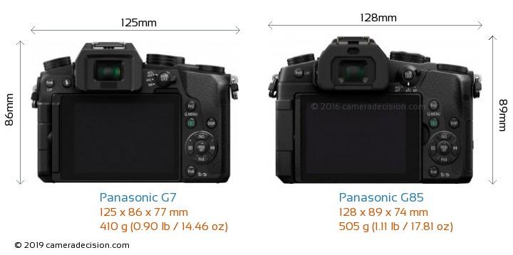 Panasonic G7 vs Panasonic G85 Camera Size Comparison - Back View