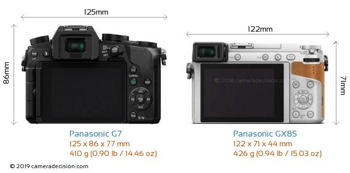 Panasonic G7 vs Panasonic GX85 Camera Size Comparison - Back View