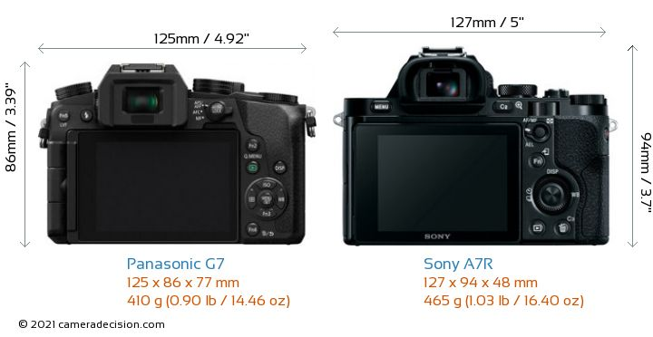 Panasonic G7 vs Sony A7R Camera Size Comparison - Back View