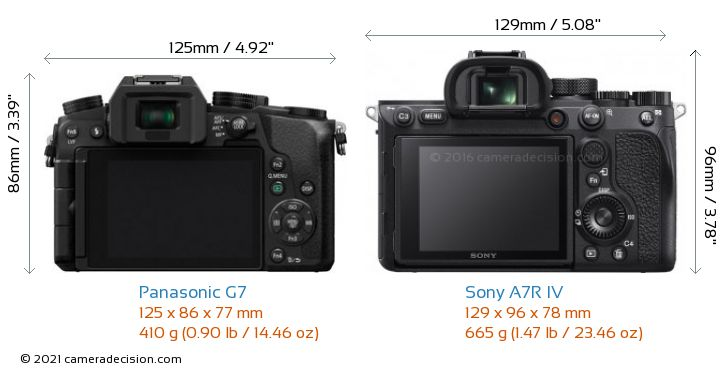 Panasonic G7 vs Sony A7R IV Camera Size Comparison - Back View