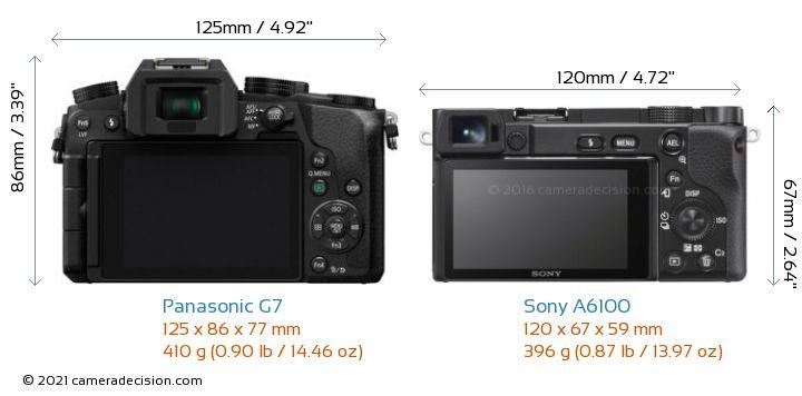 Panasonic G7 vs Sony A6100 Camera Size Comparison - Back View
