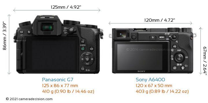 Panasonic G7 vs Sony A6400 Camera Size Comparison - Back View