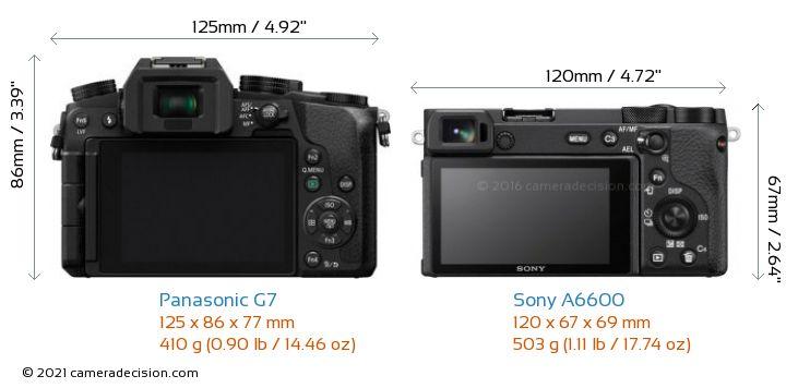 Panasonic G7 vs Sony A6600 Camera Size Comparison - Back View