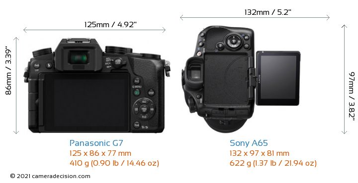 Panasonic G7 vs Sony A65 Camera Size Comparison - Back View