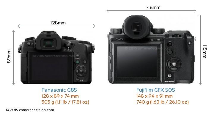 Panasonic G85 vs Fujifilm GFX 50S Camera Size Comparison - Back View