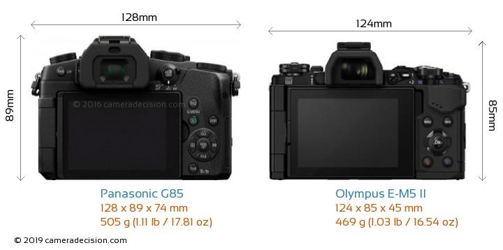 Panasonic G85 vs Olympus E-M5 II Camera Size Comparison - Back View
