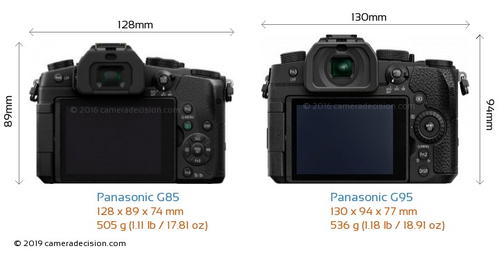 Panasonic G85 vs Panasonic G95 Camera Size Comparison - Back View