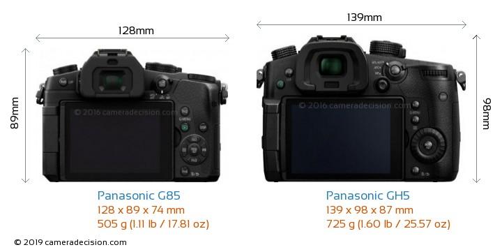 Panasonic G85 vs Panasonic GH5 Camera Size Comparison - Back View