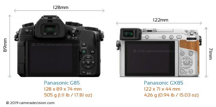 Panasonic G85 vs Panasonic GX85 Camera Size Comparison - Back View