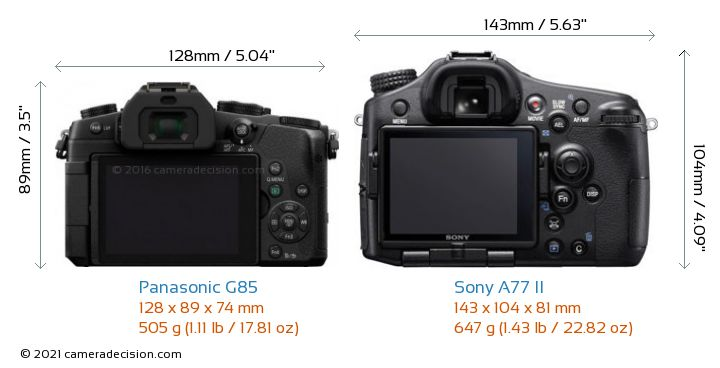 Panasonic G85 vs Sony A77 II Camera Size Comparison - Back View