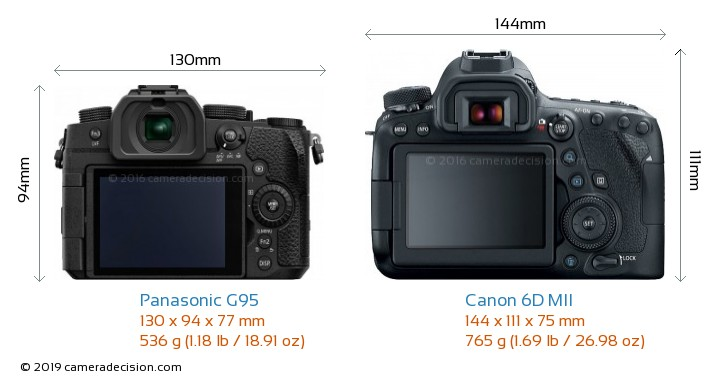 Panasonic G95 vs Canon 6D MII Camera Size Comparison - Back View