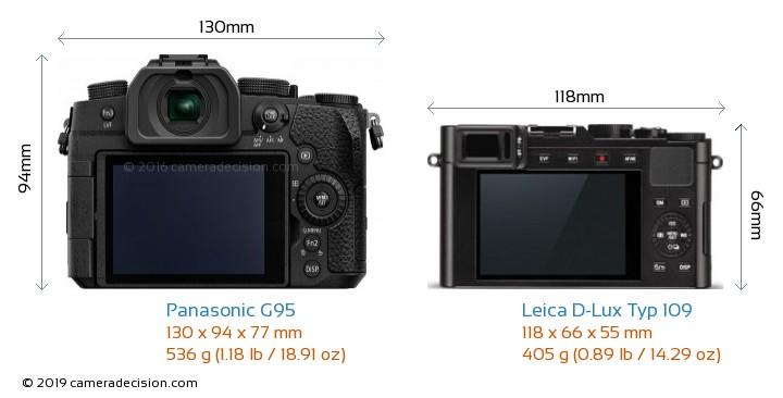 Panasonic G95 vs Leica D-Lux Typ 109 Camera Size Comparison - Back View