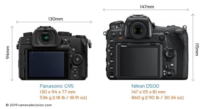 Panasonic G95 vs Nikon D500 Camera Size Comparison - Back View