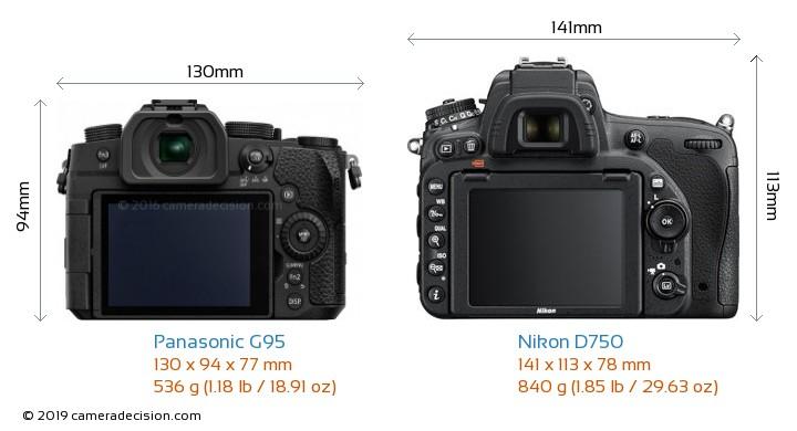 Panasonic G95 vs Nikon D750 Camera Size Comparison - Back View