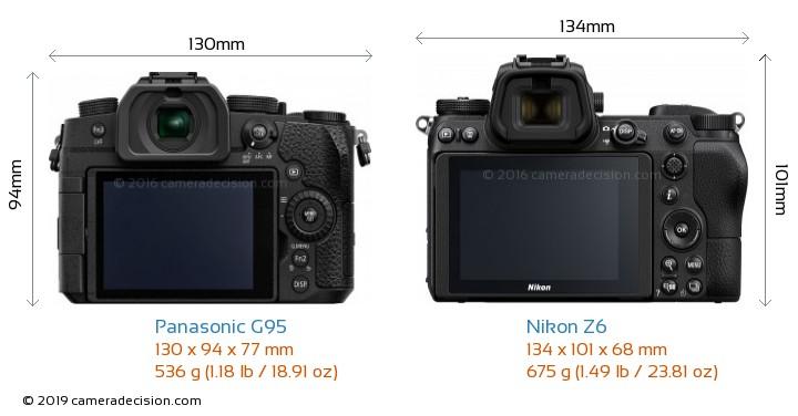 Panasonic G95 vs Nikon Z6 Camera Size Comparison - Back View